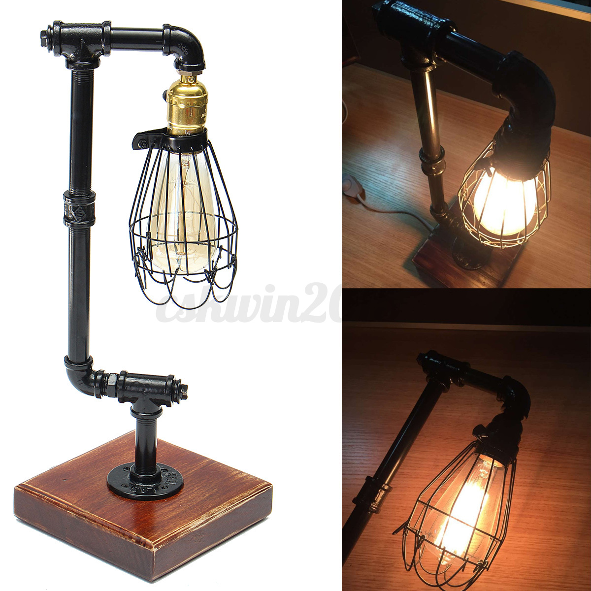 Vintage Retro Industrial Iron Pipe Lamp Adjustable Desk