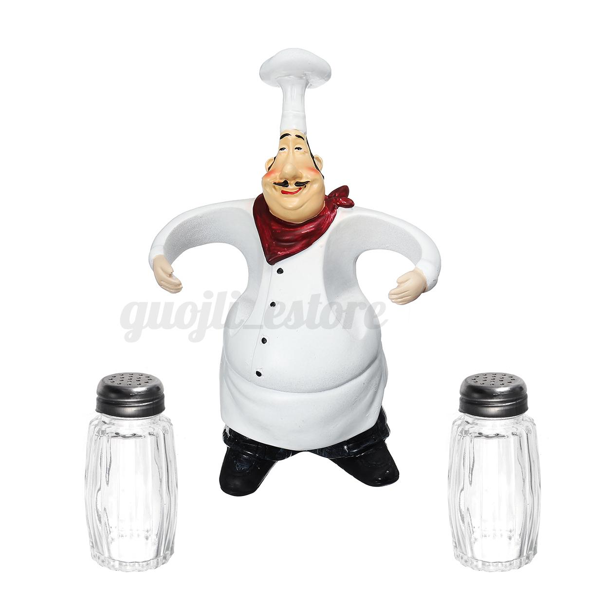Kitchen Spice Bottle Restaurant Resin Chef Figurine Cafe