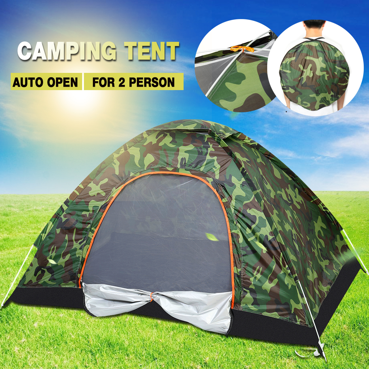 Details about 2 3 Man Person Family Pop Up Tent Portable Auto Camping Hiking Beach Dome Tent