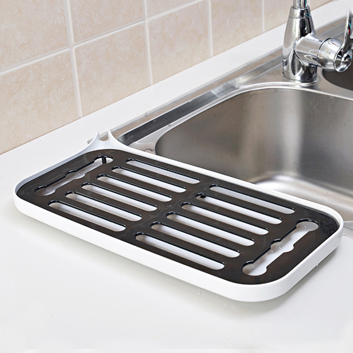 Kitchen Dish Drainer Drip Tray Rack Board Sink Drying