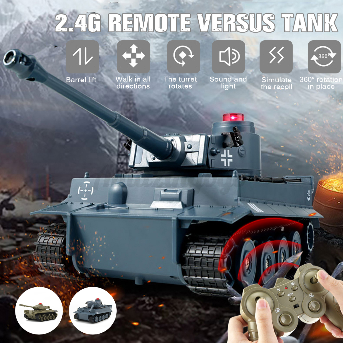 360 ° Rotate Automatic RC Battle Tank 2.4Ghz Remote Control