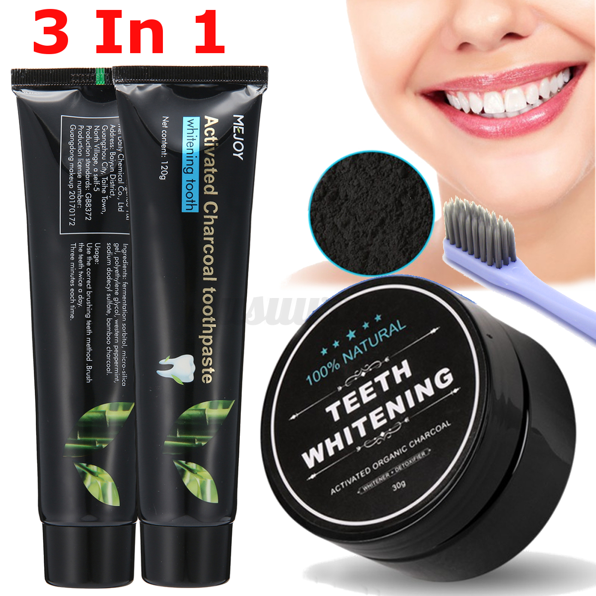 100 naturel bambou charbon actif poudre dentifrice blanchiment des dents brosse ebay. Black Bedroom Furniture Sets. Home Design Ideas
