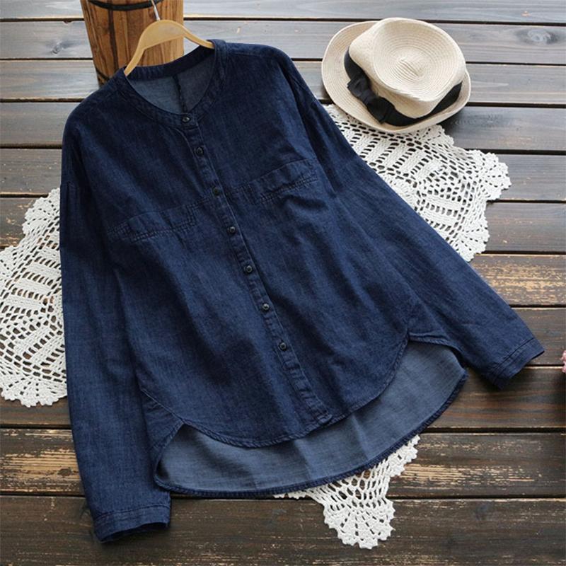 Women-Casual-Long-Sleeve-Denim-Top-Blouse-Loose-Office-Work-OL-Plus-Size-Shirt