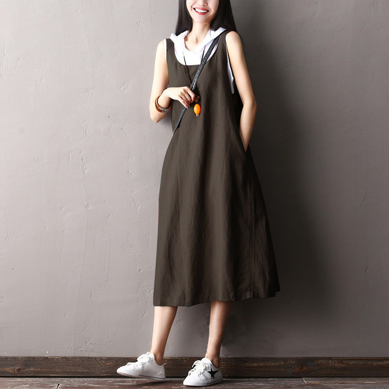 Women-Plus-Size-Long-Midi-Sundress-Swing-Flare-Strappy-Backless-Sleeveless-Dress