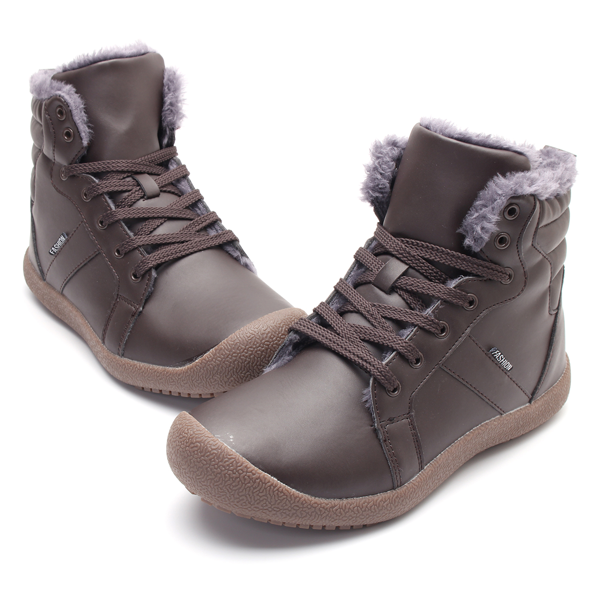 Men-039-s-Winter-Warm-Snow-Boot-Waterproof-PU-High-Top-Lace-Up-Comfy-Sneaker-Shoes