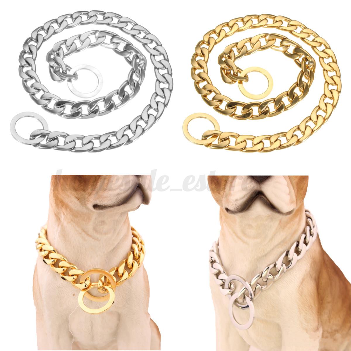 Double Row Dog Choke Chain Collar Silver Metal Iron Choker Jian