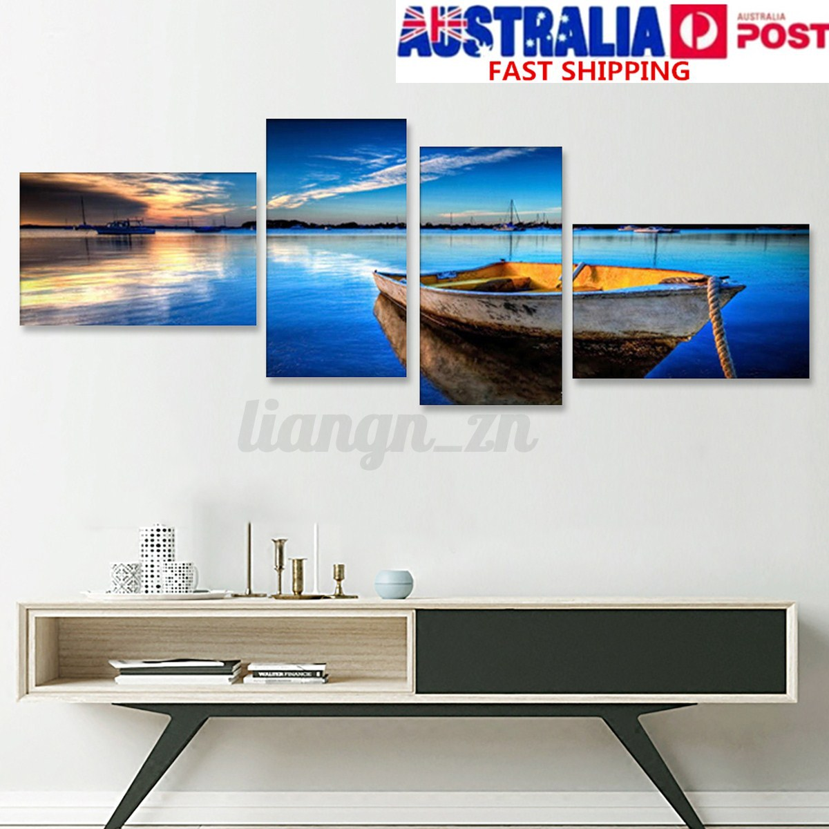 Image is loading framed large blue sky boat canvas print painting