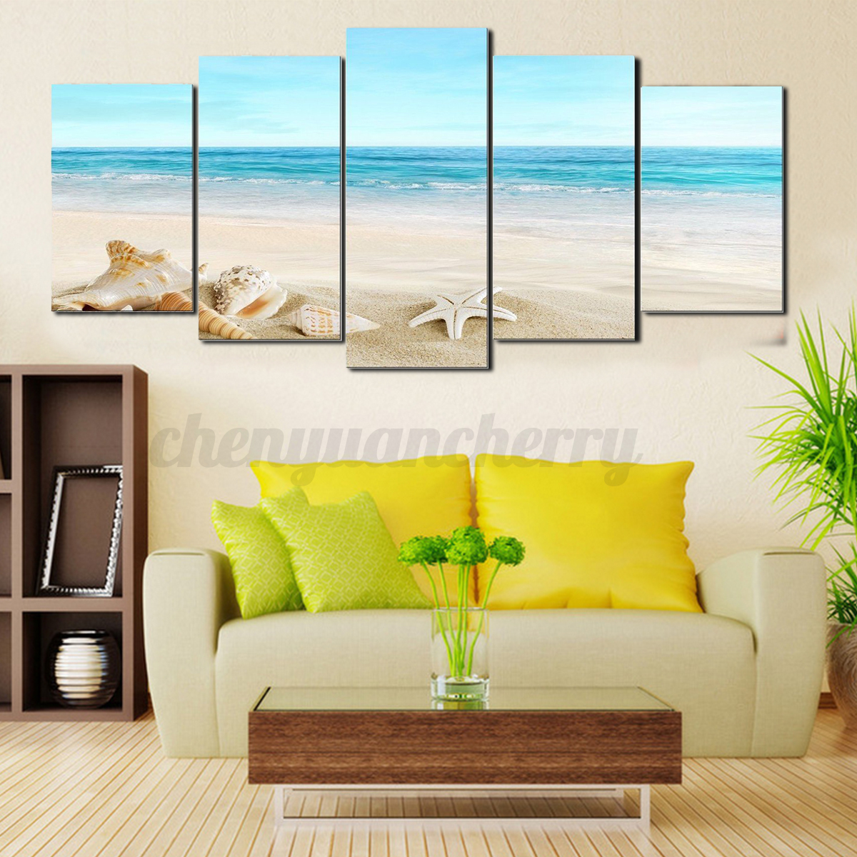 5PCS Framed Canvas Print Art Modern Sea Picture Beach Wall Painting ...