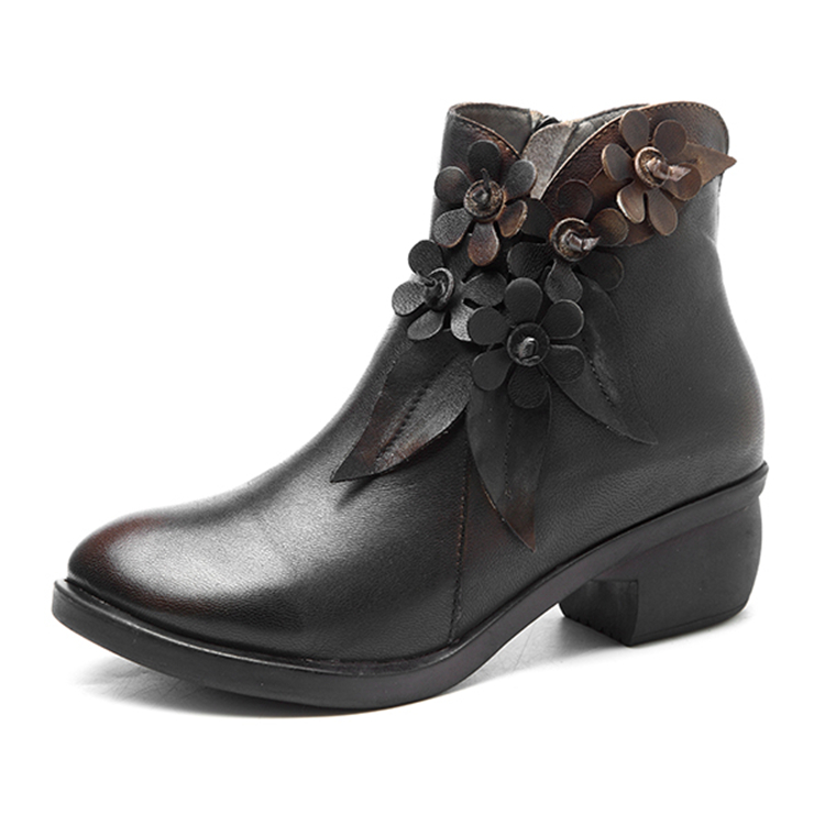 SOCOFY-Women-039-s-Leather-Ankle-Boots-Block-Heel-Shoes-Floral-Splicing-Outdoor-Soft