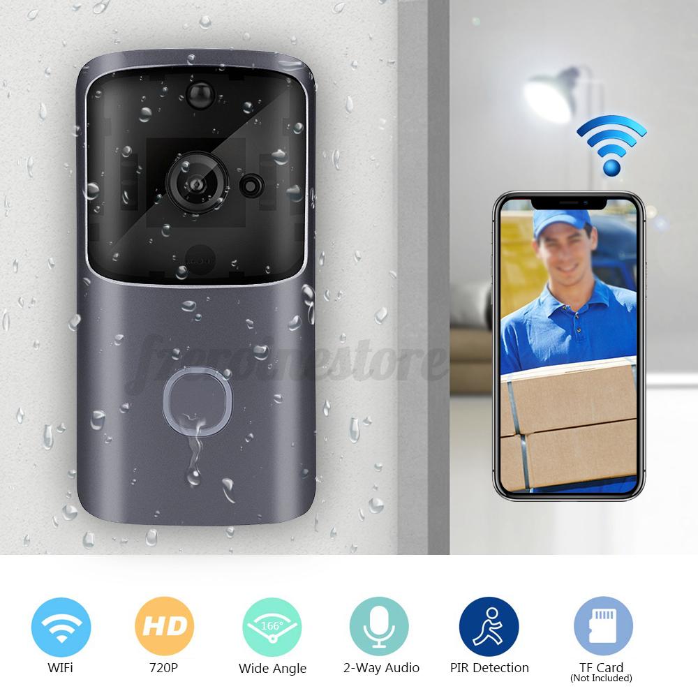 Timbre-Inalambrico-Wifi-Video-de-dos-vias-de-hablar-inteligente-Timbre-De-Puerta-Seguridad-Camara-HD miniatura 2