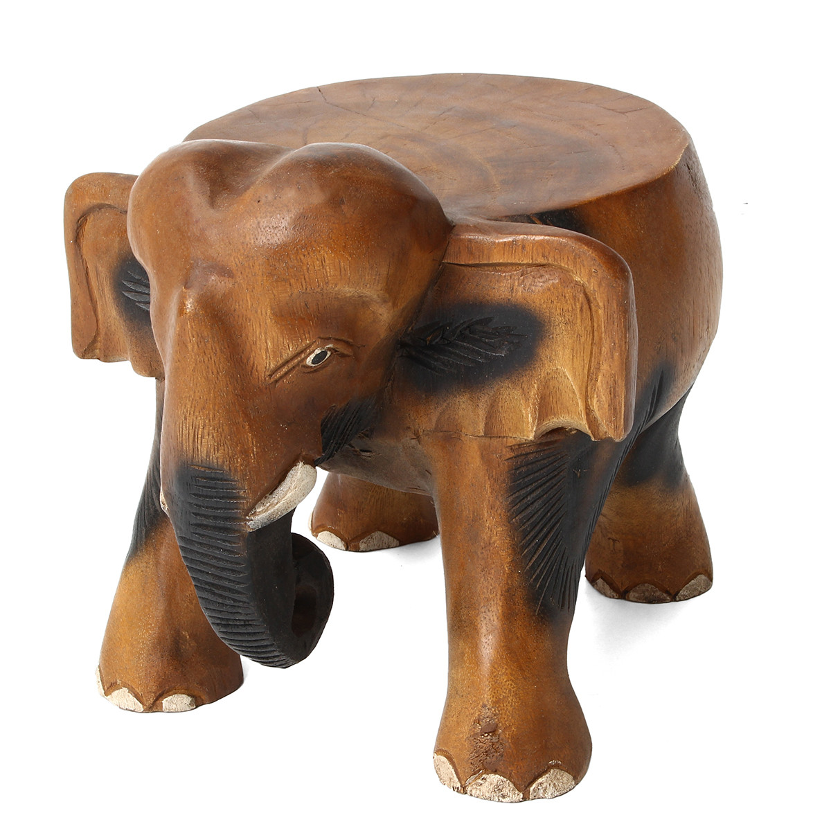 22cm Brown Elephant Stool Wood Table Hand Carved Plant Pot Stand ...