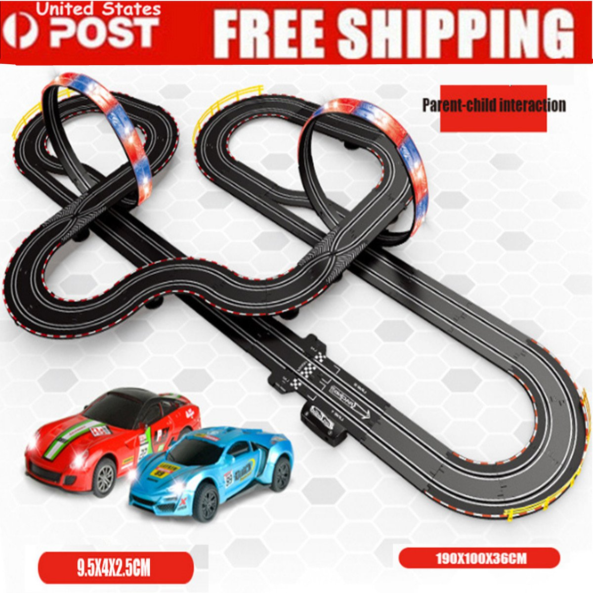 Racing Track Kit Set Loops Electric Slot Cars Race Stunt Loop 2 Ho Car Power Wiring Detail Image