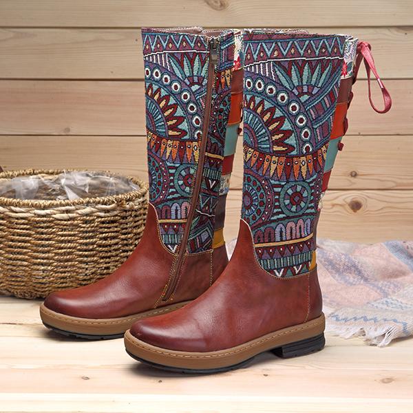 SOCOFY-Women-Bohemian-Splicing-Flat-Winter-Warm-Shoes-Leather-Knee-High-Boots