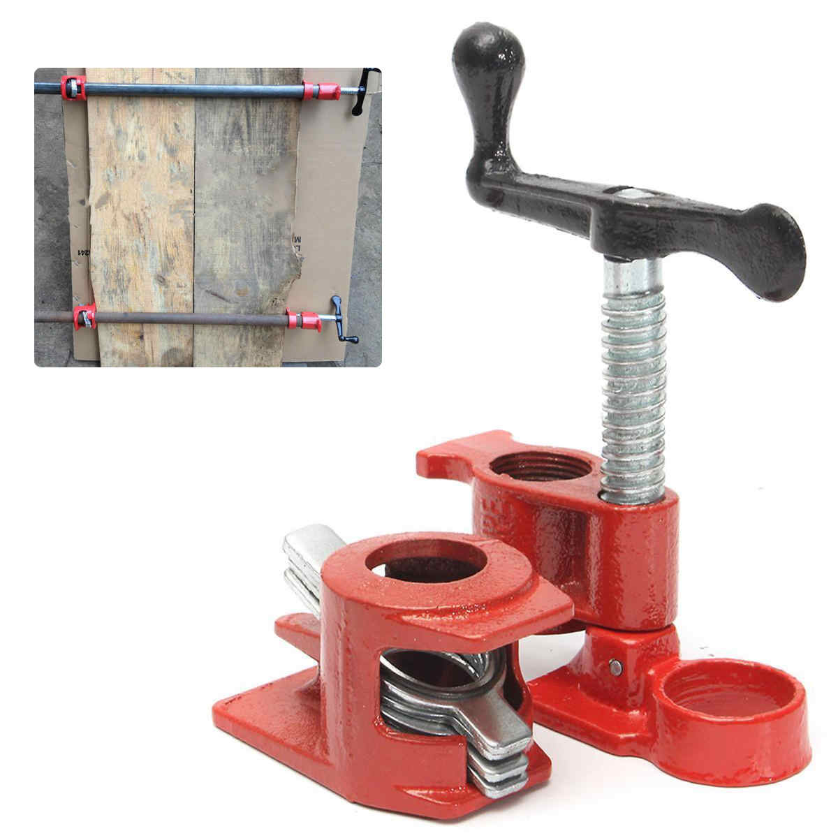 Heavy duty cast iron pipe clamp for wood gluing