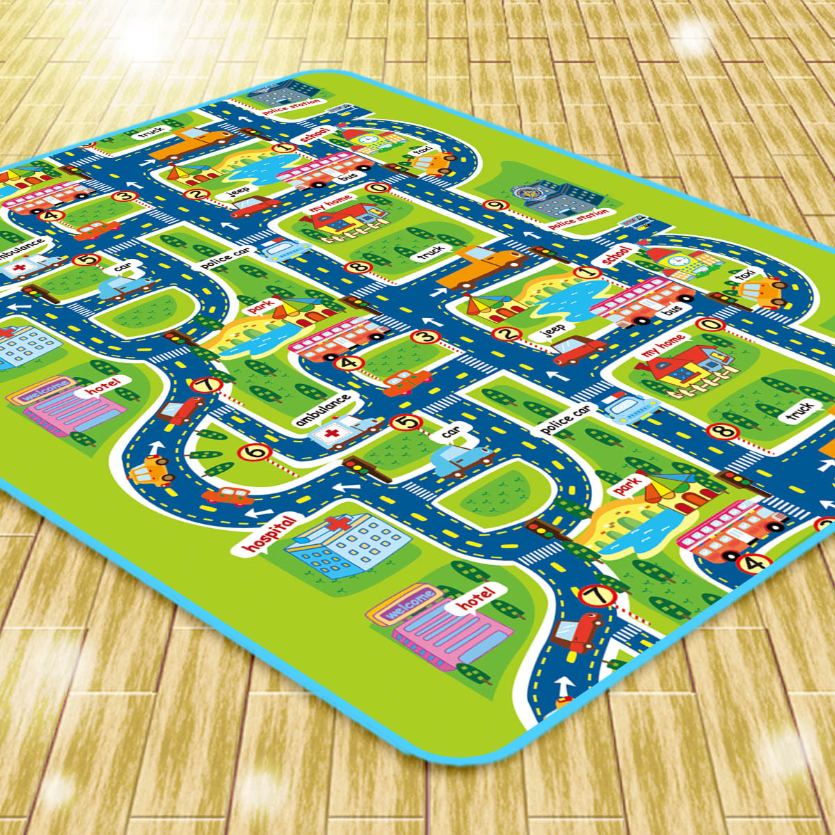 Baby Toy Rug: Infant Baby Kids Crawling Car City Traffic Game Floor Play