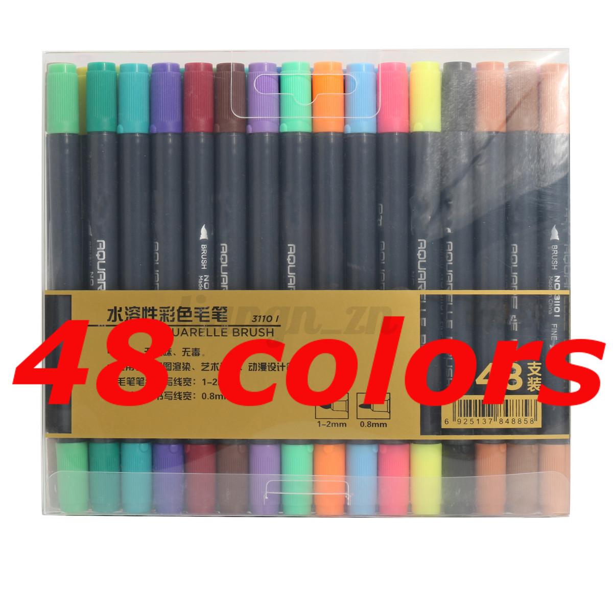 12-48-Couleur-Double-Tips-Marqueur-Feutre-Stylo-Peinture-Pneu-Graphique-Marquer