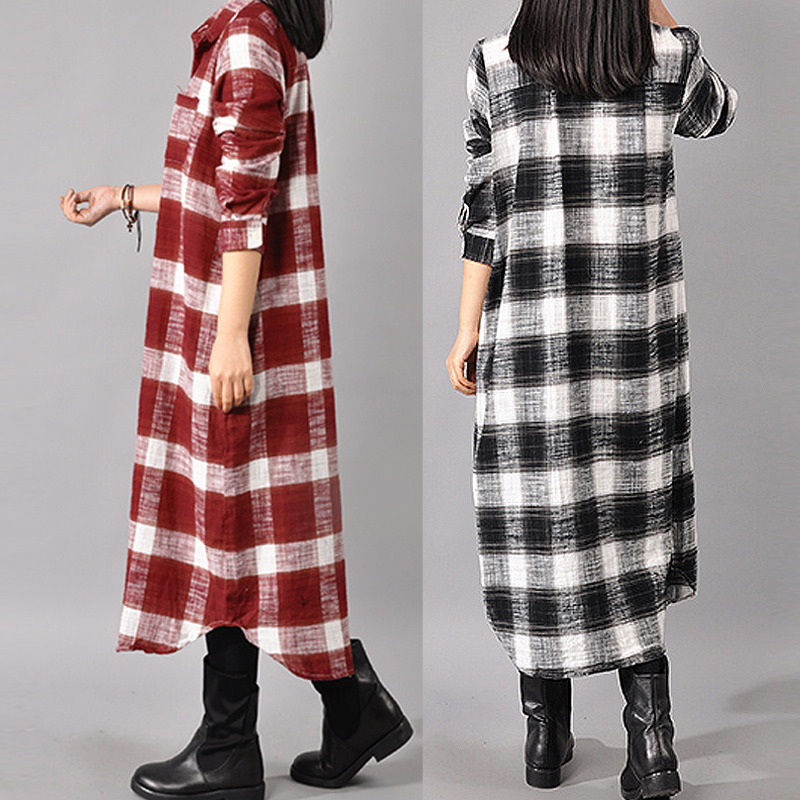 166198aabd8e74 UK 8-24 ZANZEA Women Check Plaid Button Down Long Sleeve Shirt Dress ...