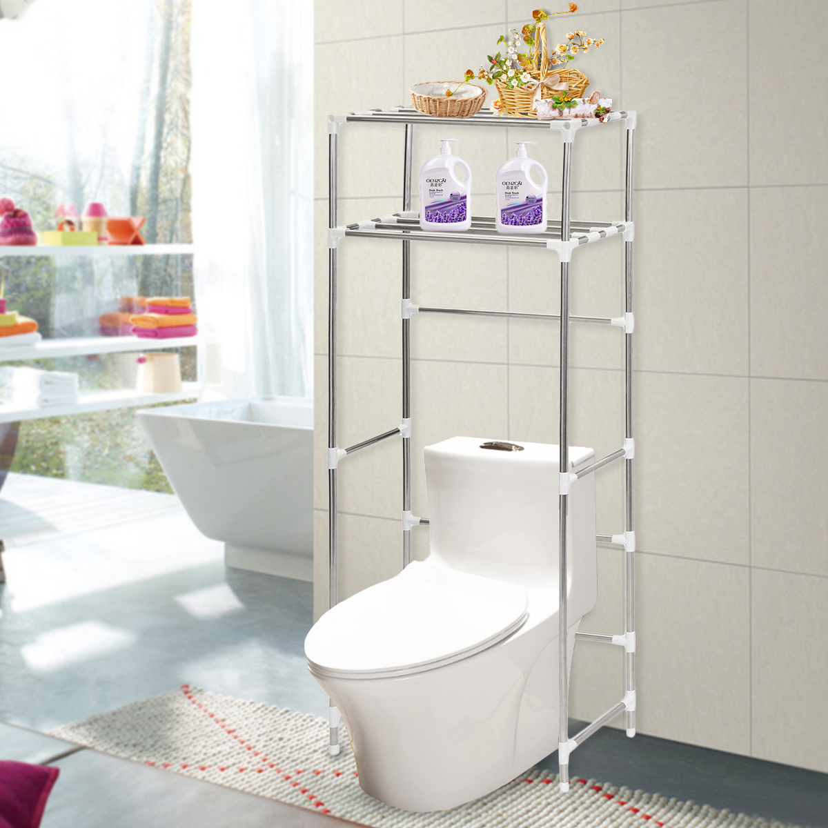 2/3 Shelf Over The Toilet Bathroom Space Saver Towel Storage Rack ...