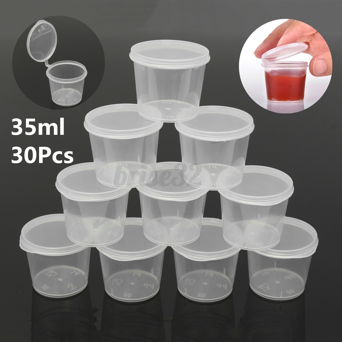 35ml 30 set small plastic sauce cups food storage. Black Bedroom Furniture Sets. Home Design Ideas