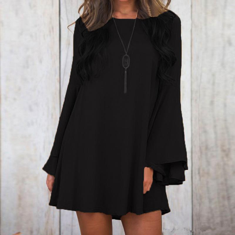 Women-Bell-Sleeve-Evening-Club-Party-Tunic-Sundress-Lace-Up-Plus-Size-Mini-Dress