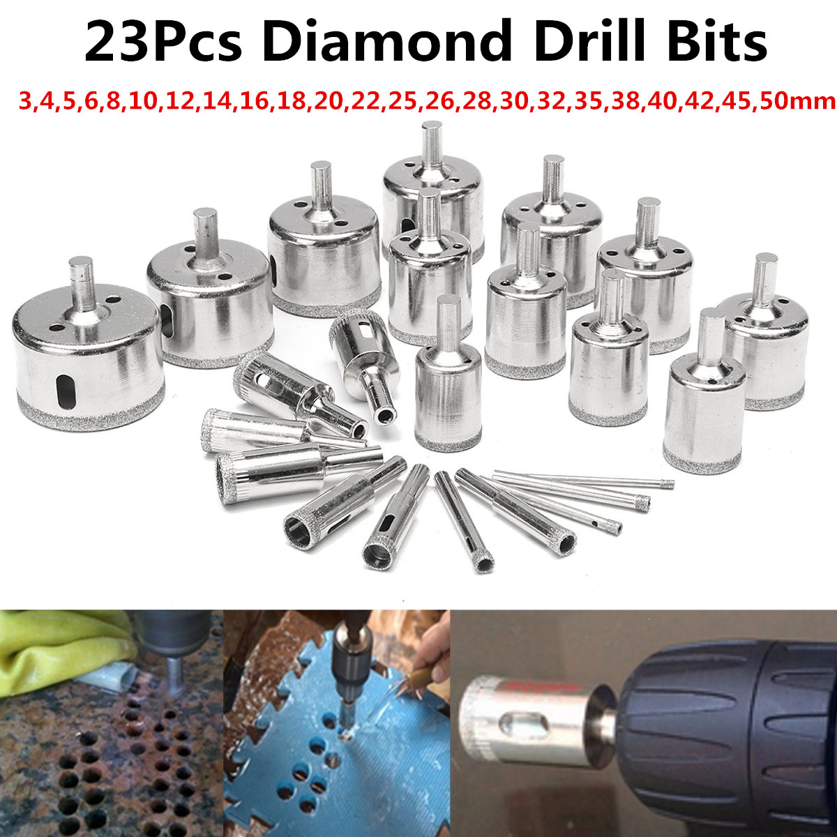 3 Pcs 40mm Diamond Drill Bits Set Hole Saw Tool Glass Ceramic Granite Marble