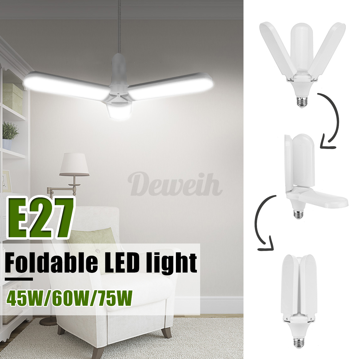 45-60-75W-10000-20000lm-LED-Garage-Shop-Work-Lights-Home-Ceiling-Deformable-Lamp thumbnail 3