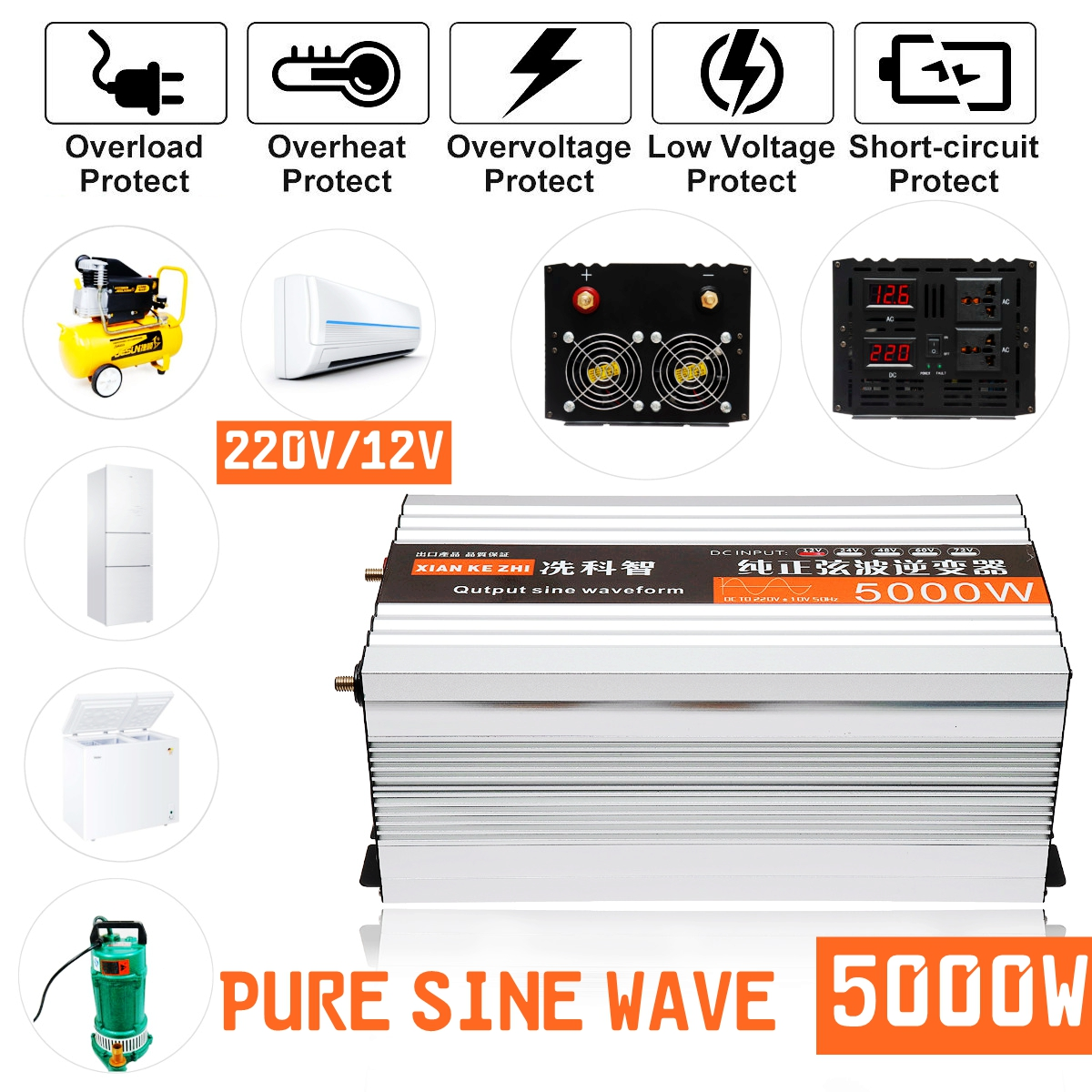 Pure Sine Wave Power Inverter 2500W 5000W Max 12V to 240V Caravan Boat Camping