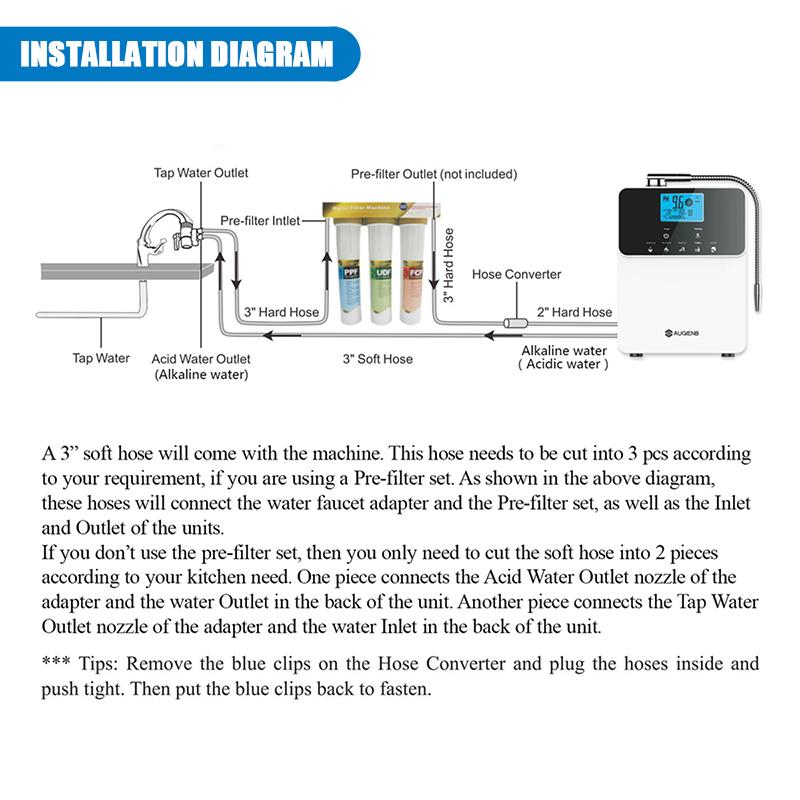 AUGIENB PH3.5-11 Alkaline Acid Water Ionizer & Purifier Machine Installation Diagram