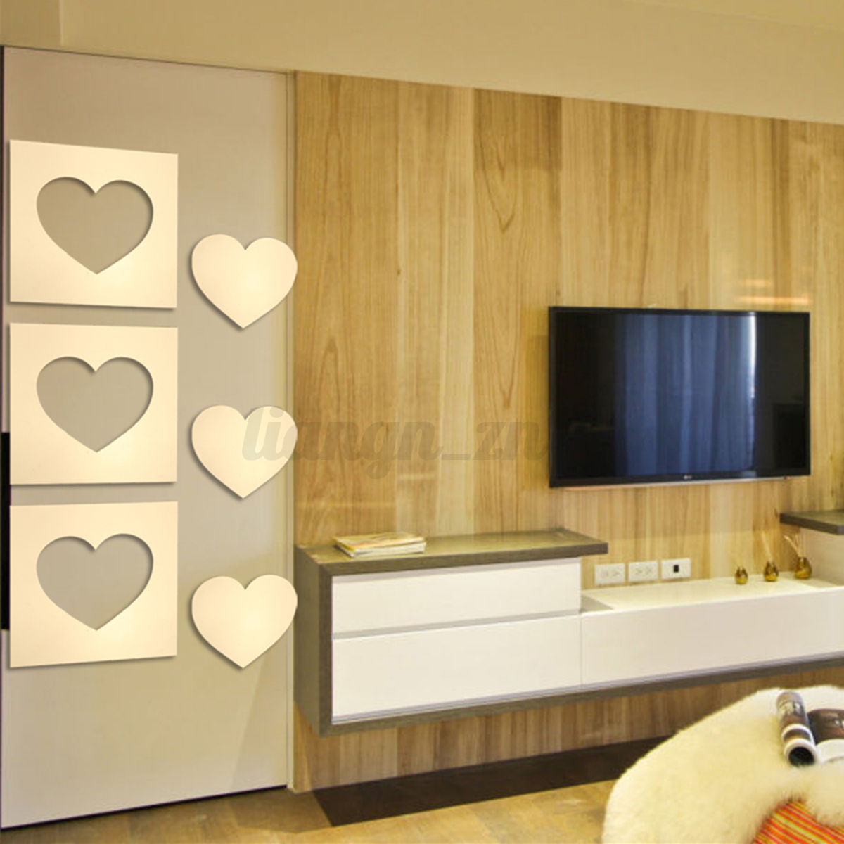 12Pcs Heart Removable Mirror Decal Art Mural Wall Sticker Home Room ...