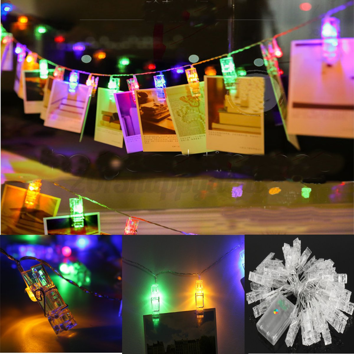 40 LED Hanging Picture Photo Peg Clip Fairy String Lights Wedding Window Decor eBay