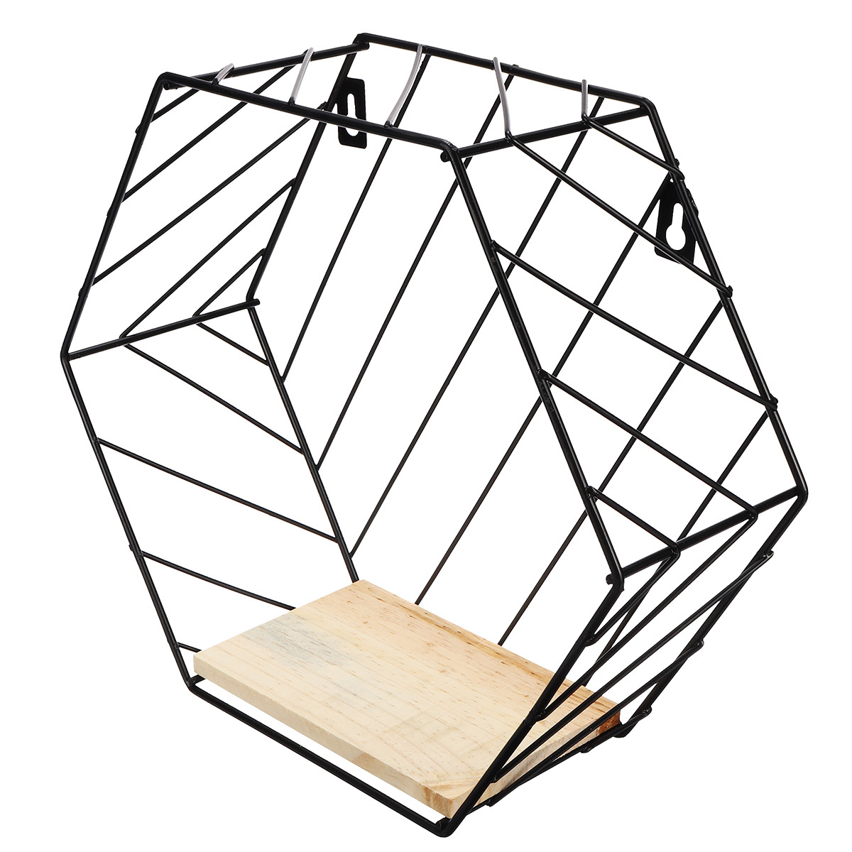 Iron-Metal-Wire-Wood-Wall-Shelf-Display-Stand-Storage-Rack-Home-Office-Decor