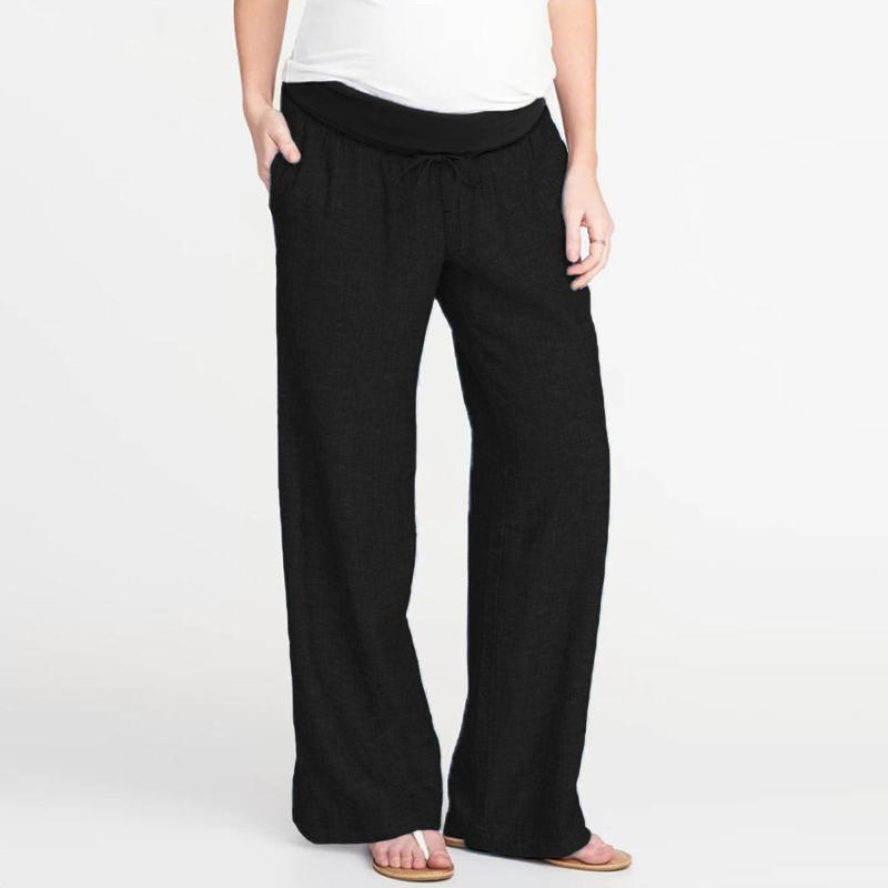 Womens Black polka Dotted Flared Trousers Elasticated Waist Long Palazzo Pants