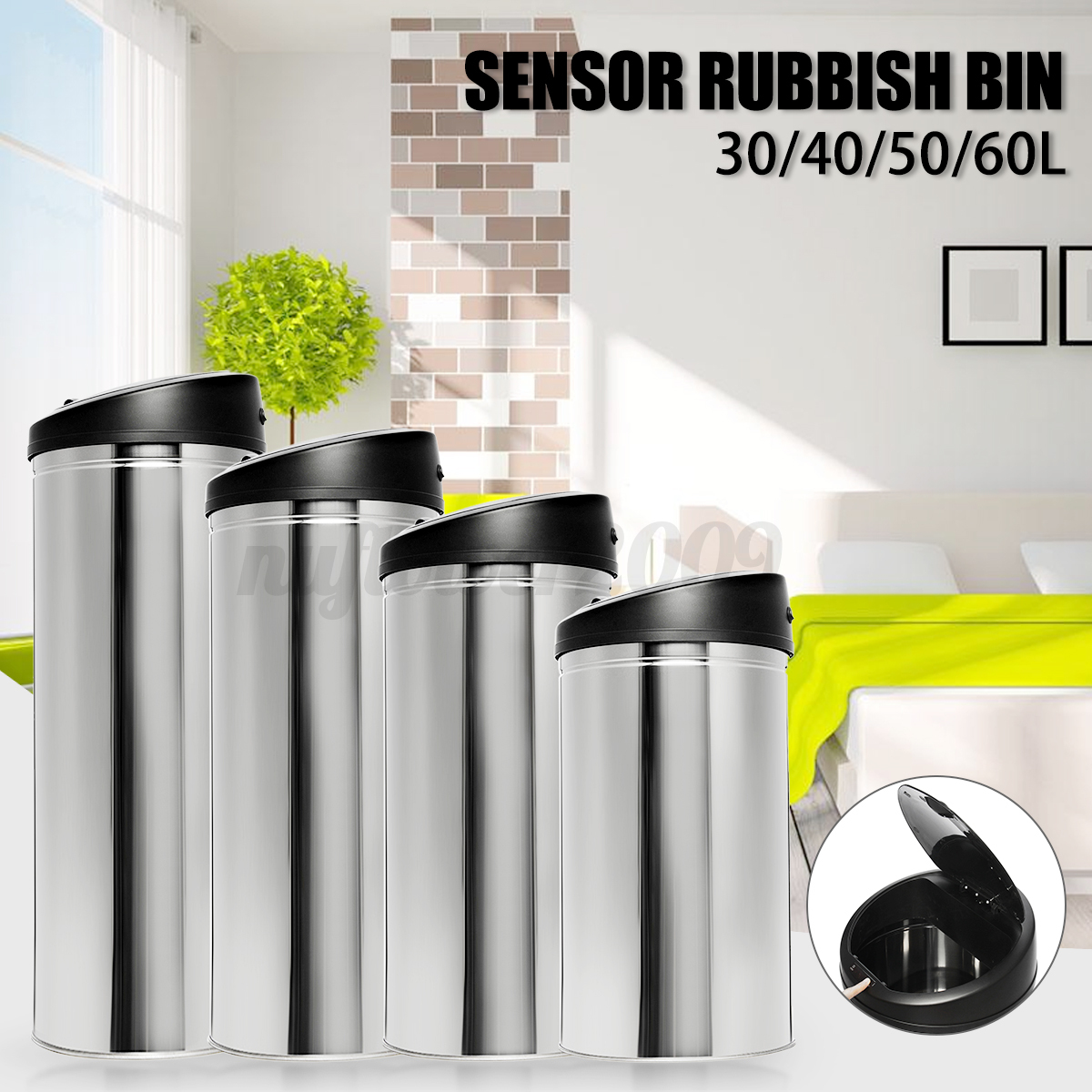 30L 40L 50L 60L Automatic Stainless Steel Garbage Can Motion