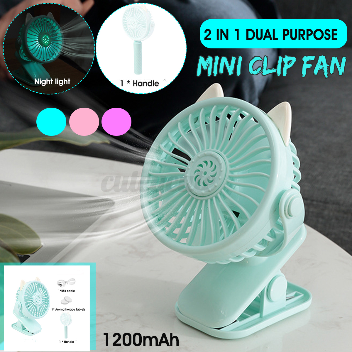 usb rechargeable desk fan battery operated clip