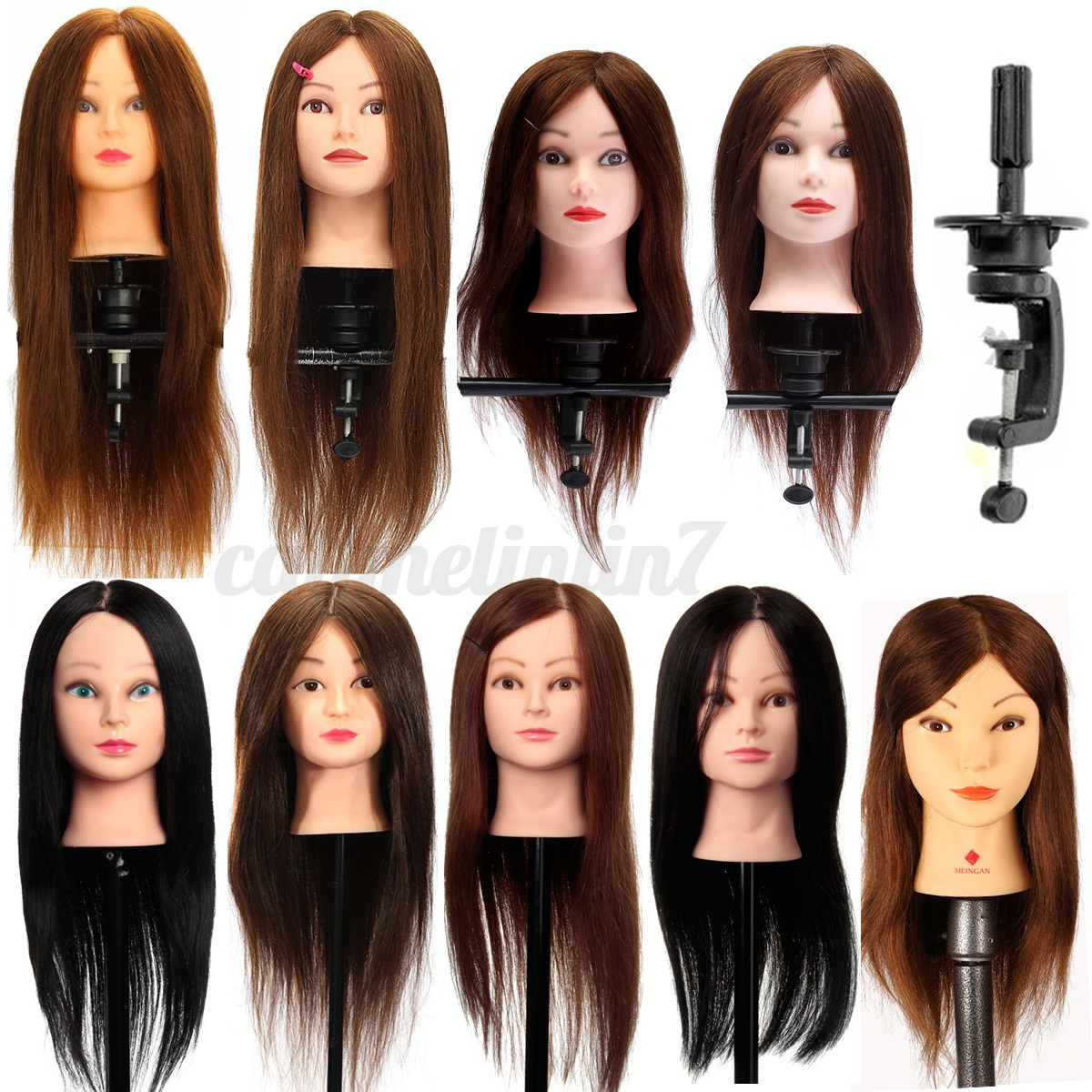 Image Is Loading 100 Real Human Hair Training Head Hairdressing Cutting