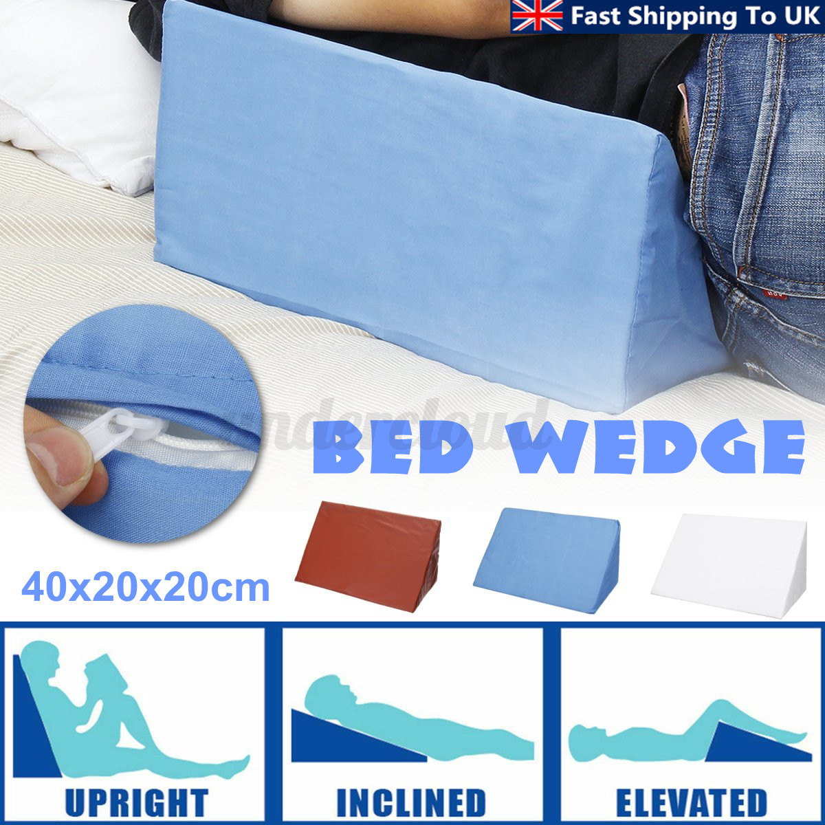 Bed Wedge Pillow Foam Elevate Support Leg Back Neck Pain Res