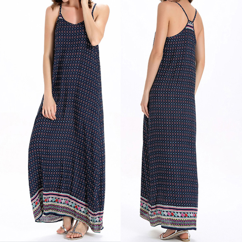 55c665c0d66 Details about ZANZEA Women Strappy Long Maxi Floral Print Sundress Holiday  Party Beach Dress