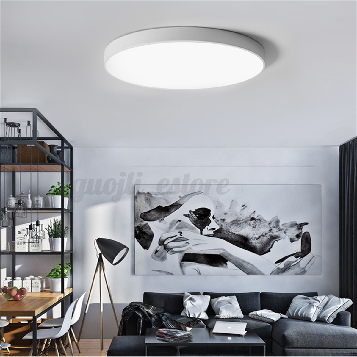 Black white modern led ceiling light surface mount lamp home bedroom living room ebay - Colors for modern living room chromatic vitality ...