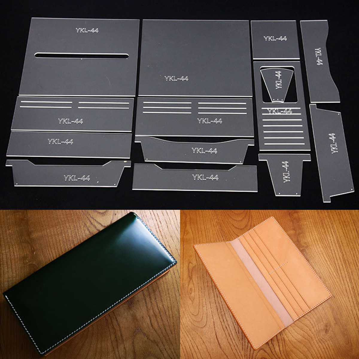 leather craft clear acrylic long wallet bag mould pattern stencil