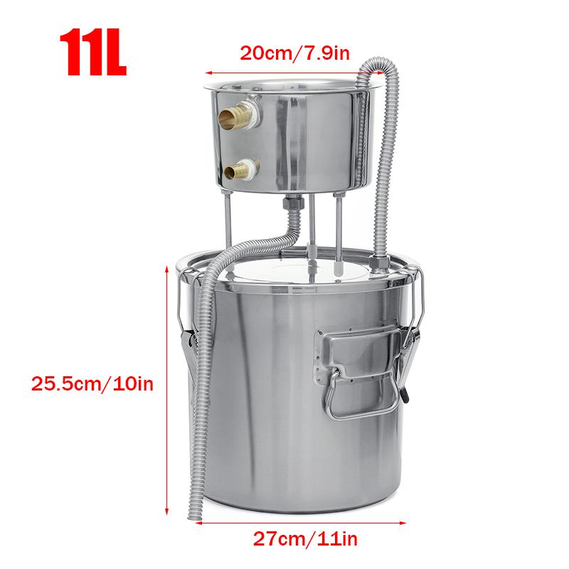 3 Gallon 11L Water Distiller Wine Alcohol Stainless Steel Boiler Wine Making