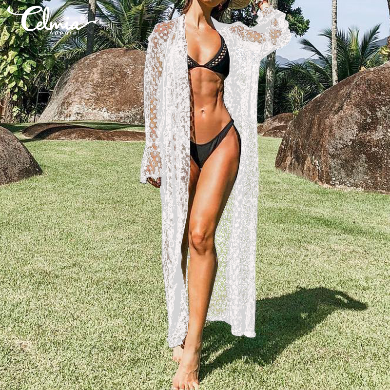 Women-Bikini-Beach-Cover-Up-Long-Kimono-Lace-Top-Blouse-Sheer-Coat-Jacket-UK8-26 thumbnail 5