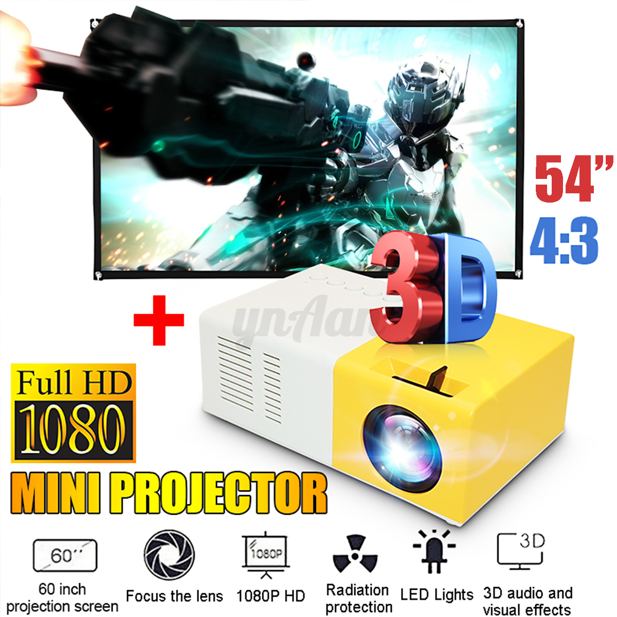 "60"" Projection Screen+ US Plug"