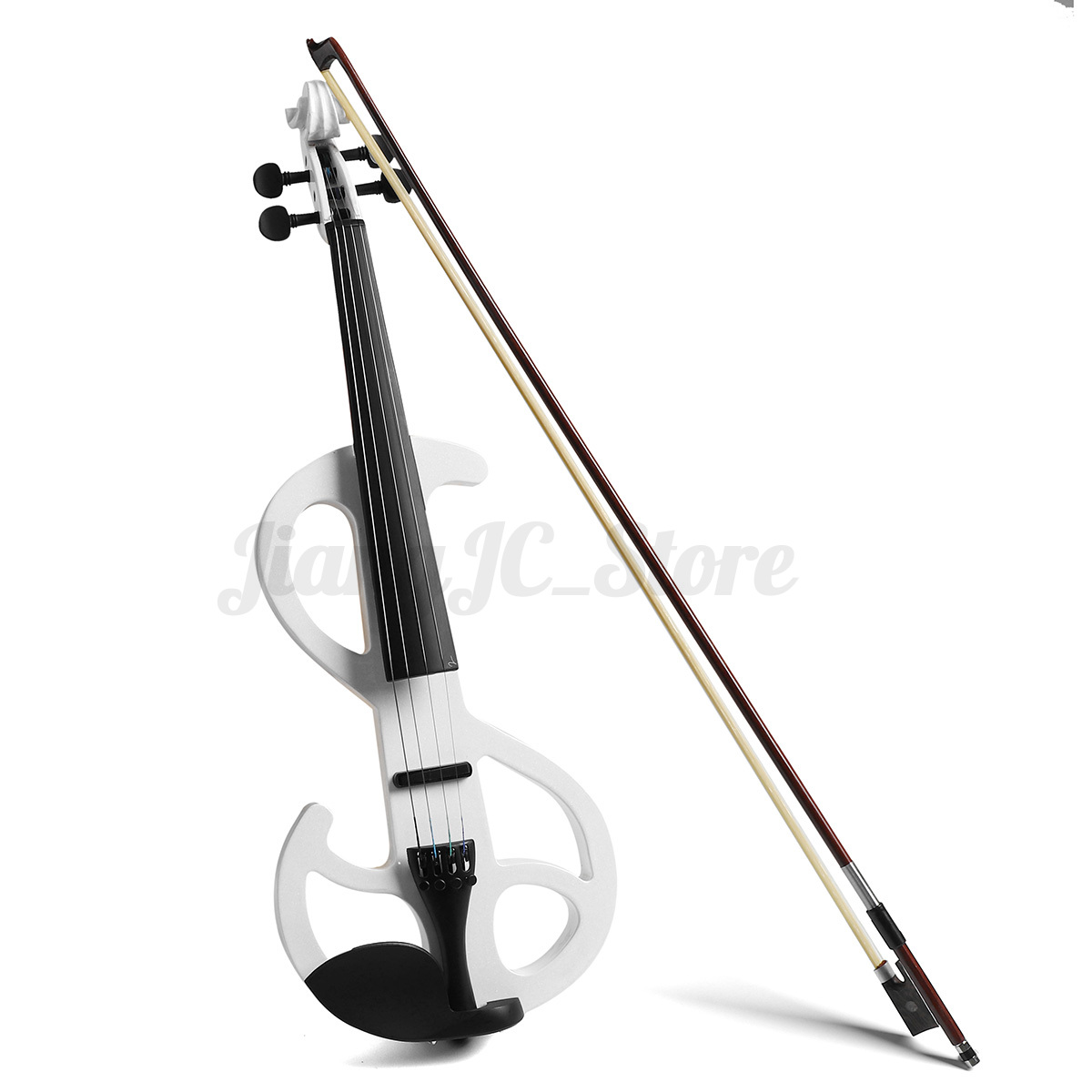 electric violin 4 4 full size 4 strings solid wood with headphone cable case ebay. Black Bedroom Furniture Sets. Home Design Ideas