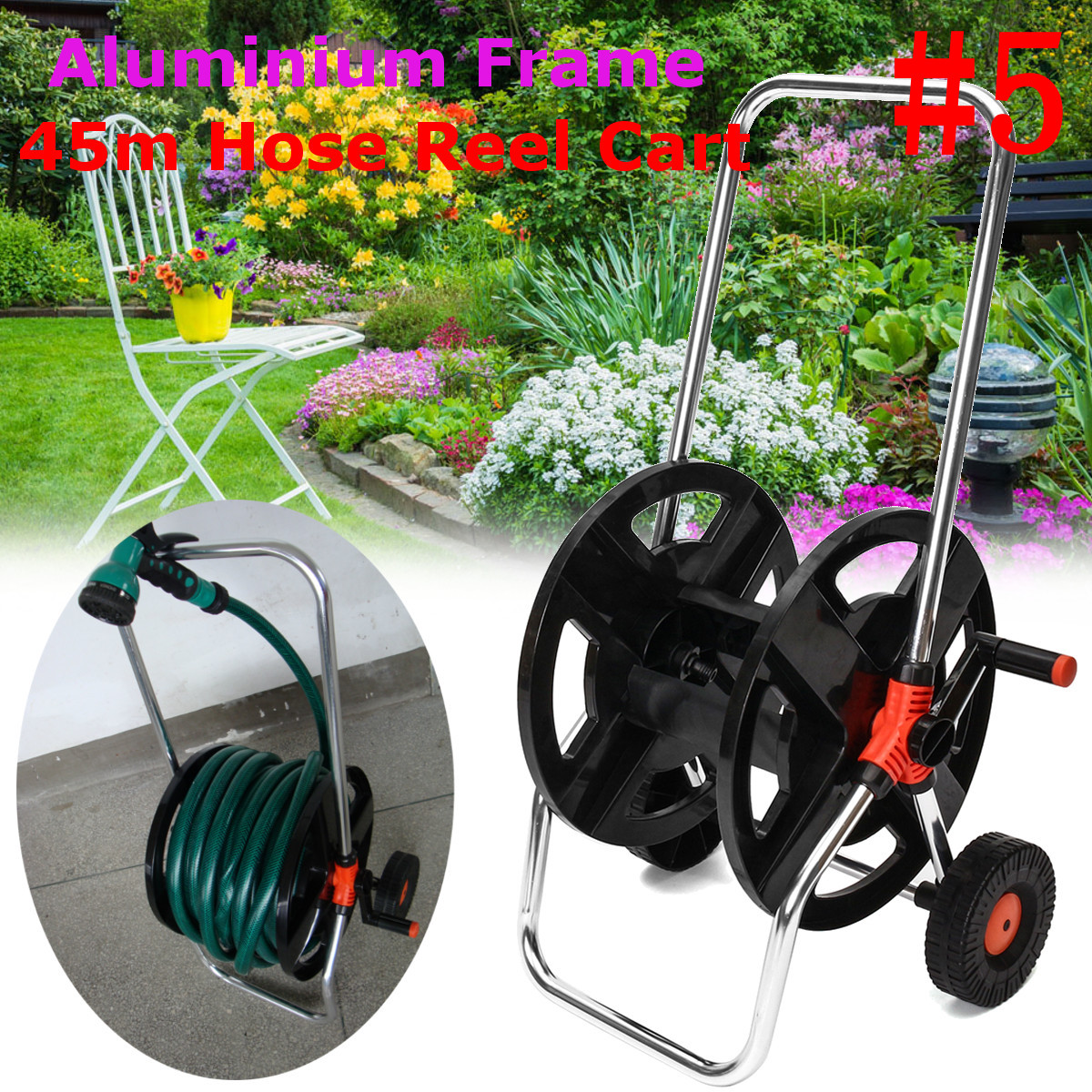 Portable Aluminum Garden Water Pipe Hose Reel Cart
