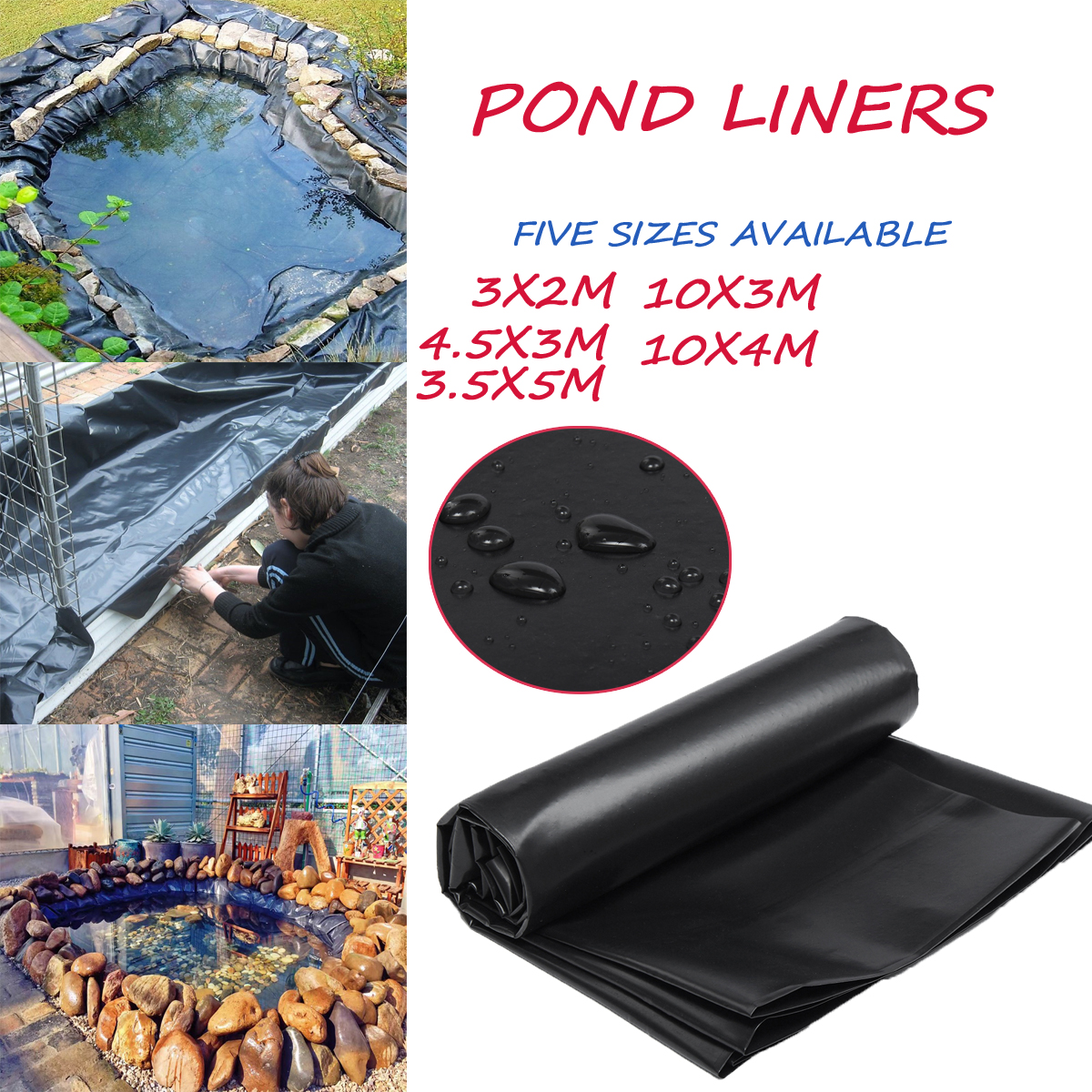 Details about Fish Pond Liners Gardens Pools HDPE Membrane Reinforced  Landscaping 0 33mm Thick