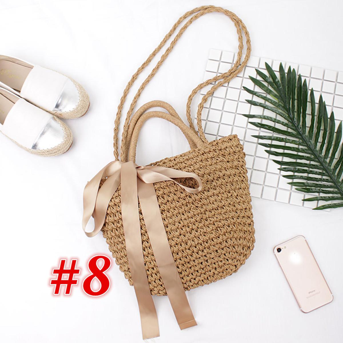 4052f8f29e Handmade Women Straw Rattan Beach Bag Crossbody Shoulder Handbag ...