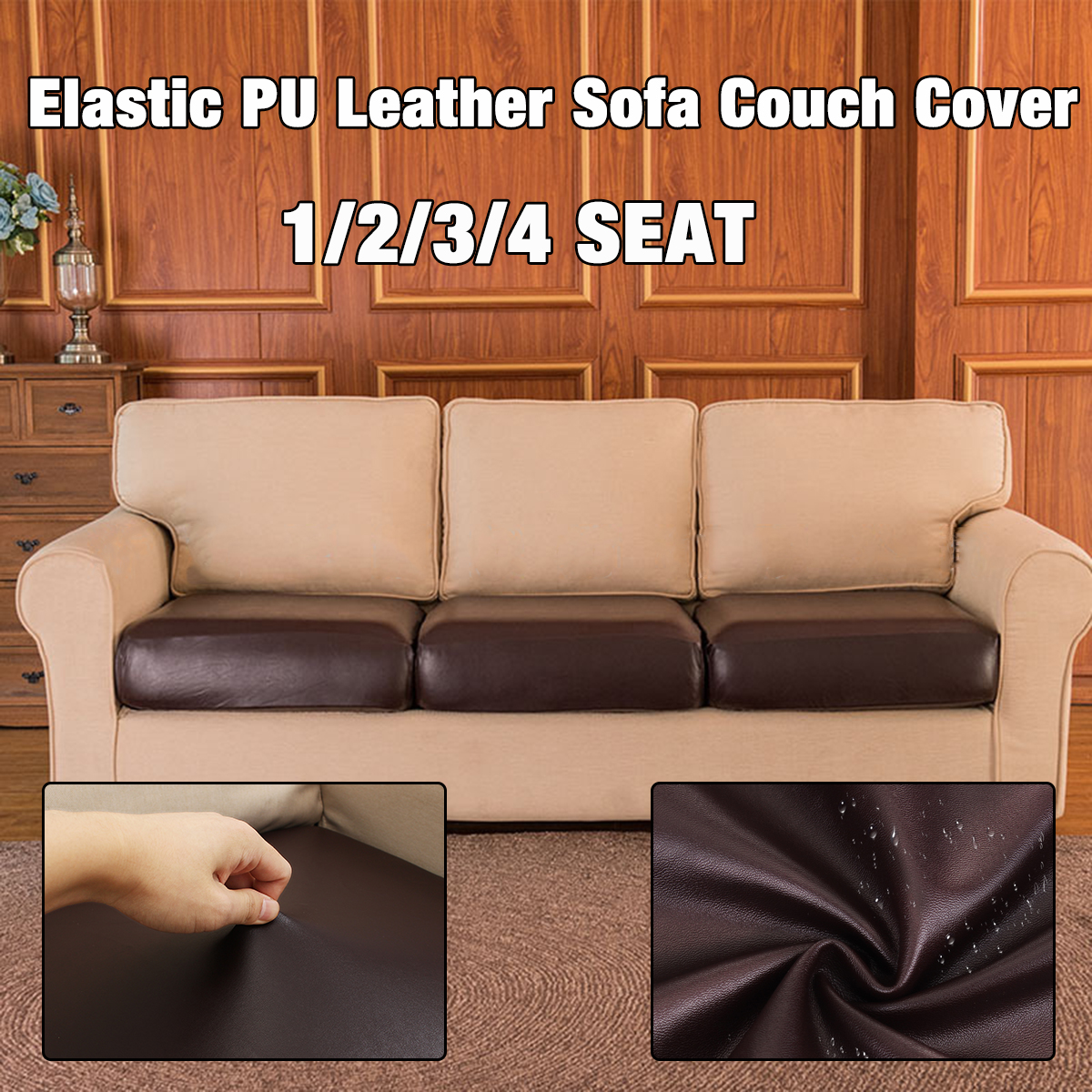 Details about 1-4 Seater Elastic Stretch PU Leather Sofa Seat Covers Couch  Slipcover Protector