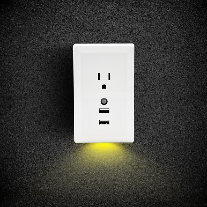 Dual usb wall outlet charger plug led night light auto motion sensor dual usb wall outlet charger plug led night aloadofball Choice Image