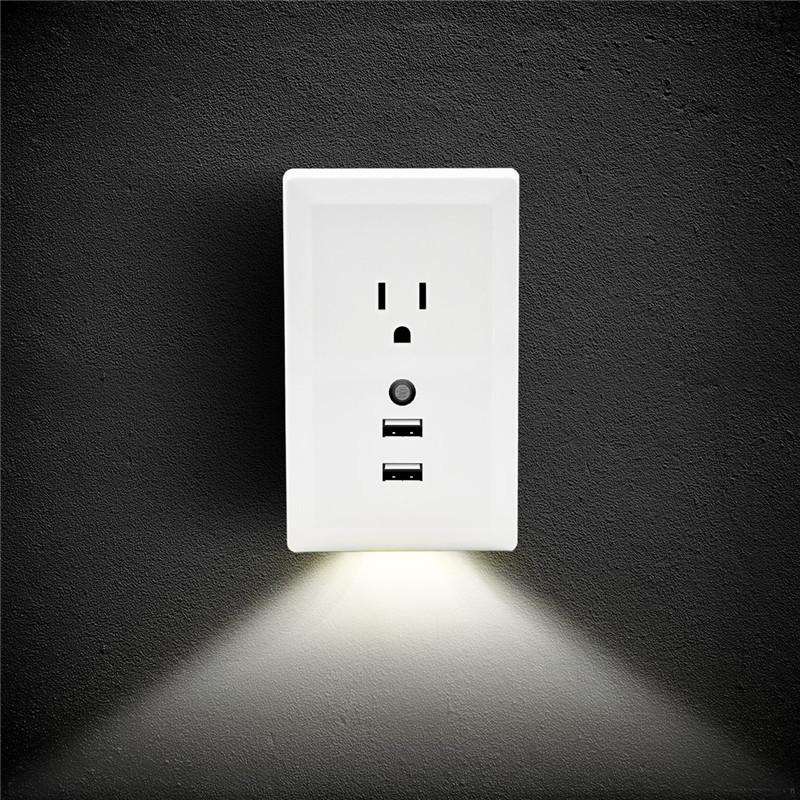 dual usb wall outlet charger plug led night light auto motion sensor lamp 110v ebay. Black Bedroom Furniture Sets. Home Design Ideas