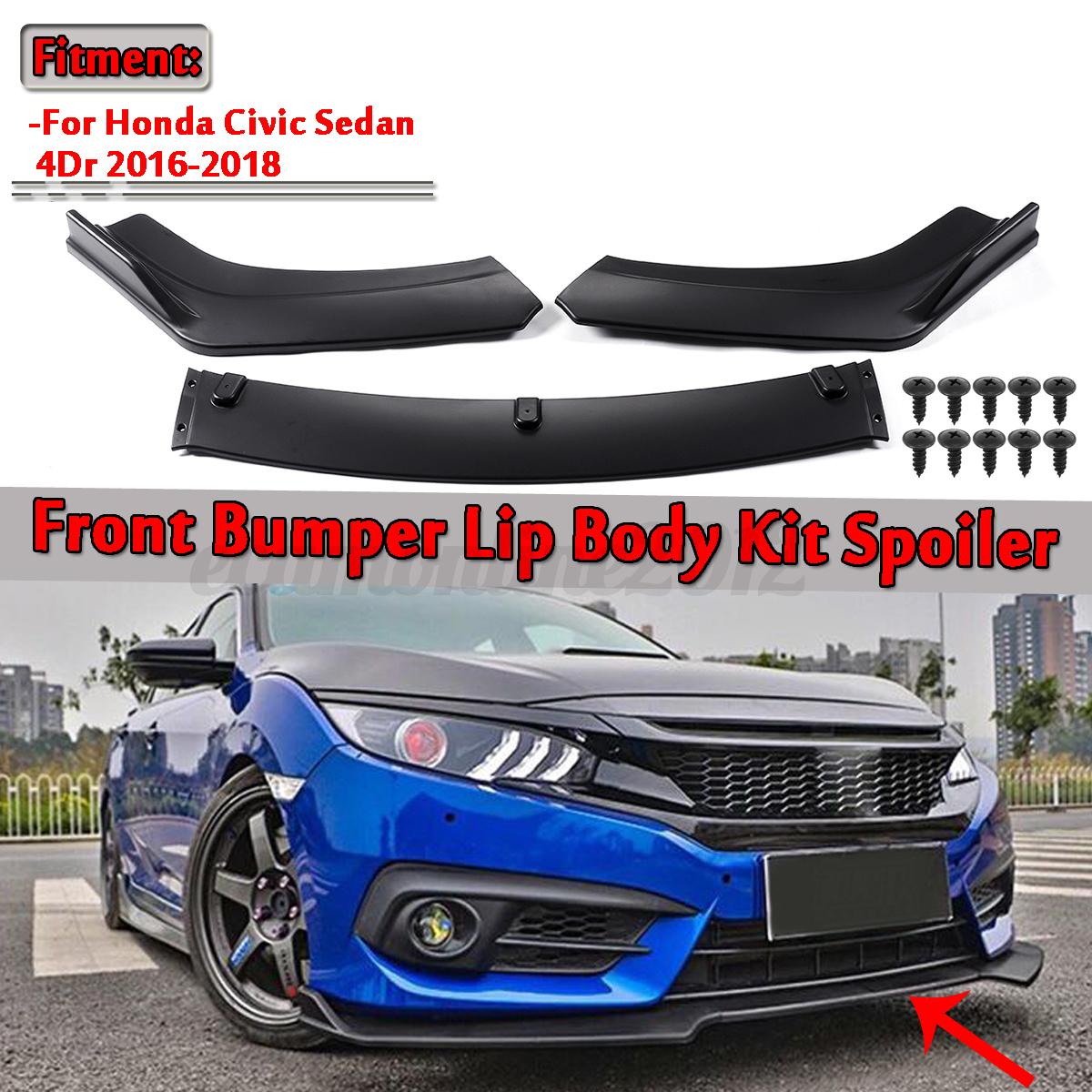 2019 Honda Civic Sedan Front Splitter: Matte Black Front Bumper Lip Body Kit Spoiler For 2016